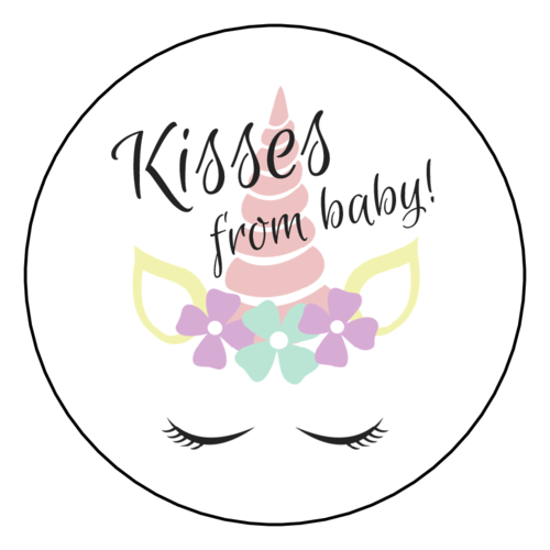 """Kisses from baby"" Baby Shower Favor Label"