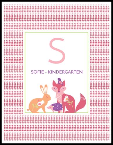 Pastel Fox Color Coded School Supply Label