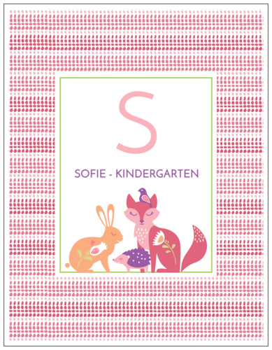 Pastel Fox Color Coded School Supply Label