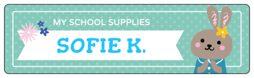 """My School Supplies"" Woodland Creatures School Supply Label"