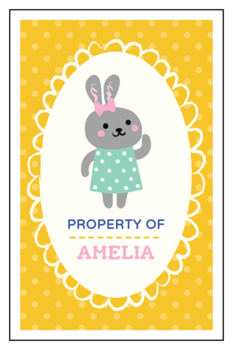 """Property of"" Polka Dot Woodland Creatures School Supply Label"
