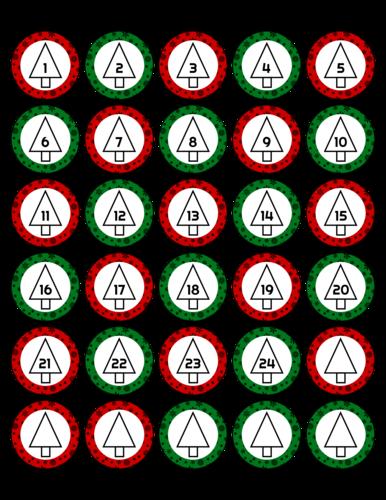 Christmas Advent Calendar Sticker Set, Assorted