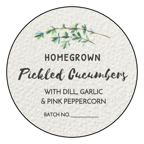 Herbal Watercolor Circle Canning Label