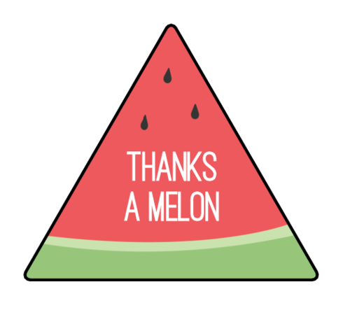 """Thanks A Melon"" Watermelon Pun Favor Label"