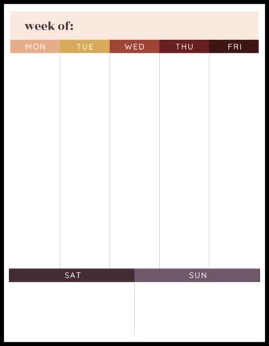 Full Sheet Weekly Planner Label