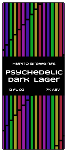 Psychedelic Rainbow Beer Can Label