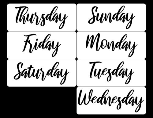 Days of the Week DIY Calendar Label