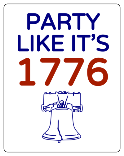 """Party Like it's 1776"" July 4th Sticker"