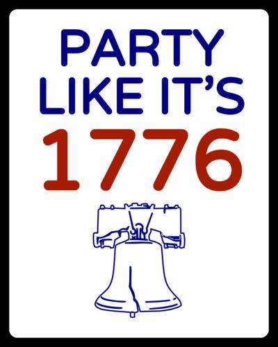 """""""Party Like it's 1776"""" July 4th Sticker"""