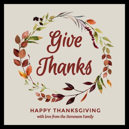 """Give Thanks"" Floral Thanksgiving Favor Label"