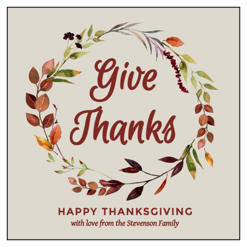 """Give Thanks"" Floral Thanksgiving Favor Label"