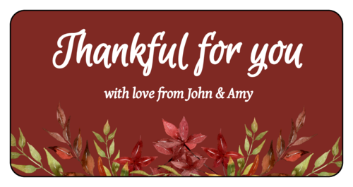 """Thankful For You"" Floral Thanksgiving Gift Favor Label"
