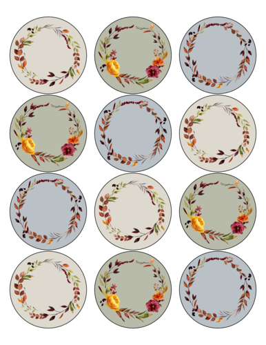 Write-In Floral Circle Labels, Assorted