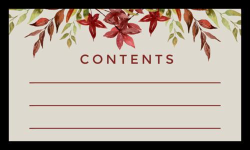 """Contents"" Floral Thanksgiving Leftover Label"