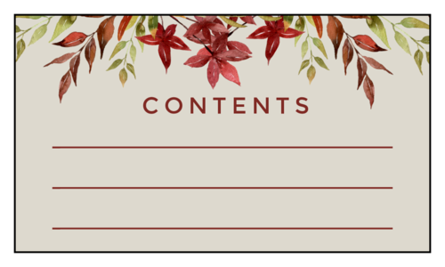 """Contents"" Floral Thanksgiving Leftover Label"