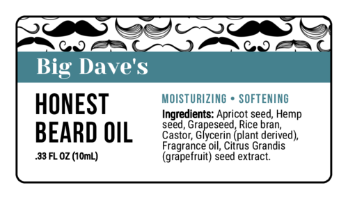Mustache Pattern Beard Oil Label