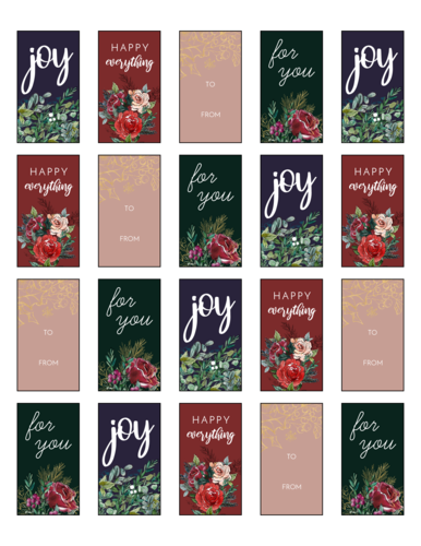 Decorative Holiday Gift Labels, Assorted