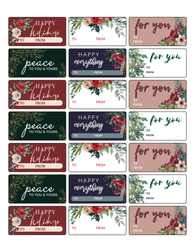 Floral Holiday Gift Tag Labels, Assorted