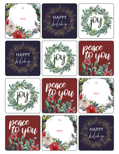 Floral Holiday Gift Labels, Assorted