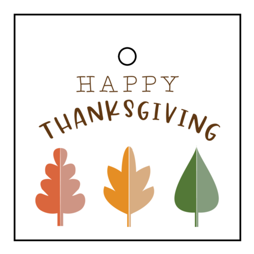 """Autumn Leaf """"Happy Thanksgiving"""" Gift Tag"""