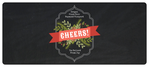 """Cheers"" Wraparound Christmas Bottle Label"