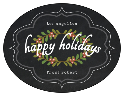 """Happy Holidays"" Holly Wreath Gift Label"