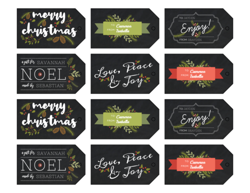 Faux Chalkboard Christmas Cardstock Gift Tags, Assorted