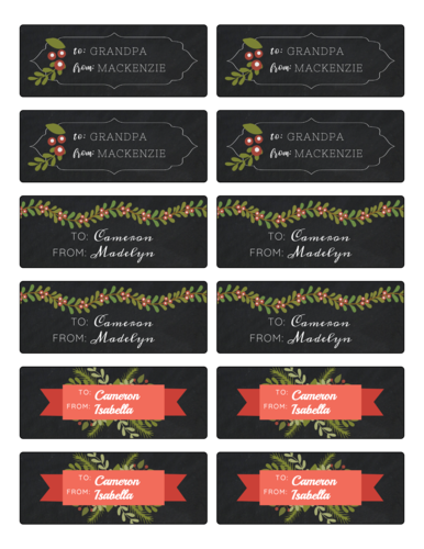 Holly Christmas Gift Tag Stickers, Assorted