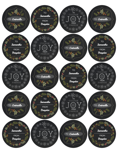 Faux Chalkboard Christmas Gift Labels, Assorted