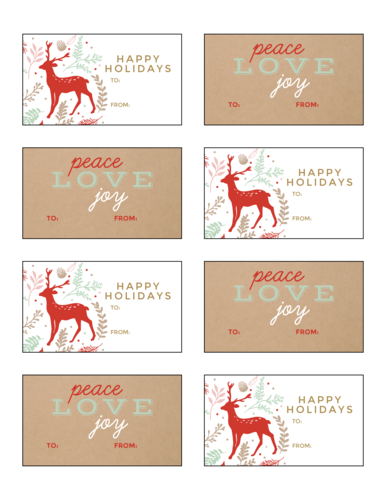 Woodsy Holiday Gift Tag Stickers, Assorted