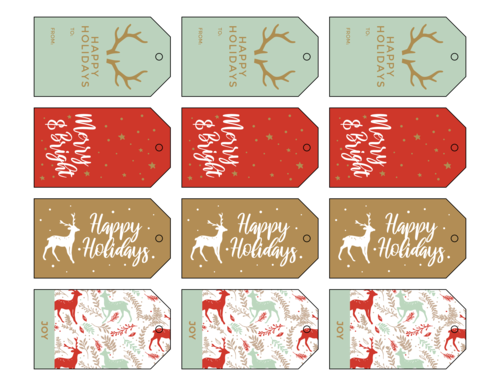 Woodsy Holiday Cardstock Gift Tags, Assorted