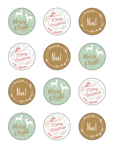 Teal & Gold Decorative Holiday Gift Stickers, Assorted