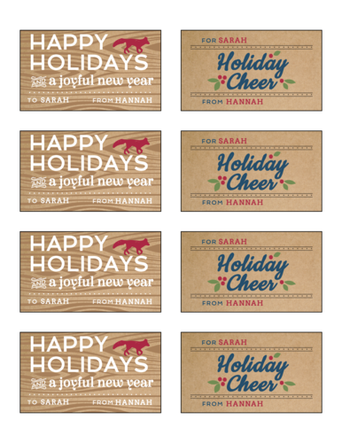 Kraft Holiday Gift Tag Stickers, Assorted