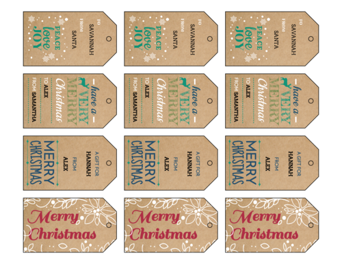 Kraft Holiday Cardstock Gift Tags, Assorted