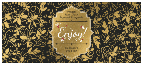 """Enjoy"" Ornate Golden Wine Gift Label"
