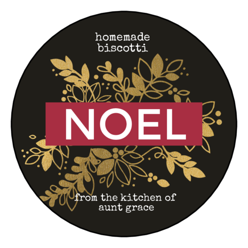 """Noel"" Golden Christmas Gift Label"