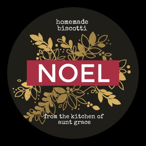 """Noel"" Golden Christmas Gift Label"