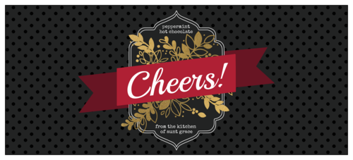 """Cheers"" Golden Bottle & Drink Gift Label"