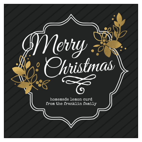 """Merry Christmas"" Golden Food Gift Label"