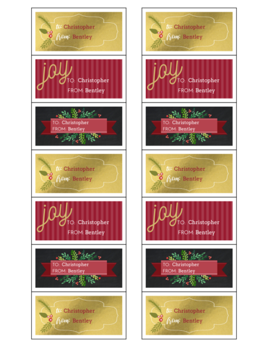 Florid Holiday Gift Tag Stickers, Assorted