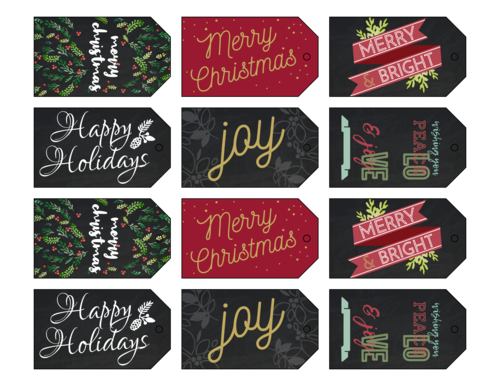 Florid Christmas Cardstock Gift Tags, Assorted