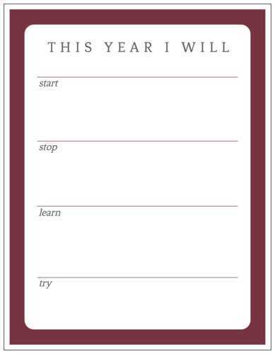 """This Year I Will"" New Year's Resolution Goal Tracker"