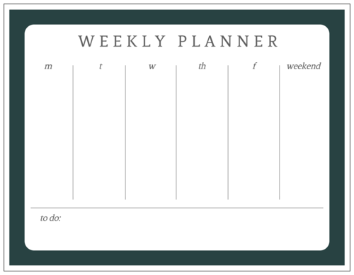 Weekly Calendar Planner Sticker