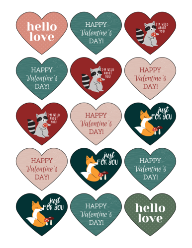 Assorted Woodland Creatures Valentine's Day Heart Labels