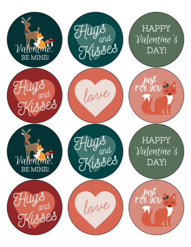 Assorted Woodland Creatures Valentine's Day Labels