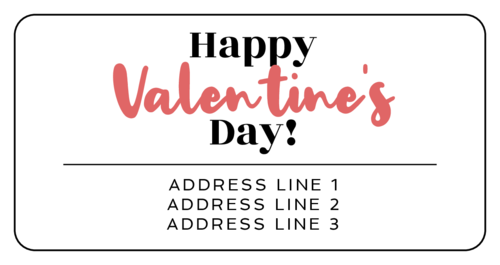 """Happy Valentine's Day!"" Calligraphic Shipping Address Label"