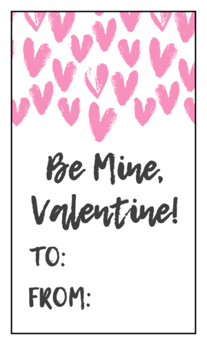 """Be Mine, Valentine"" Painted Hearts Valentine's Day Gift Label"
