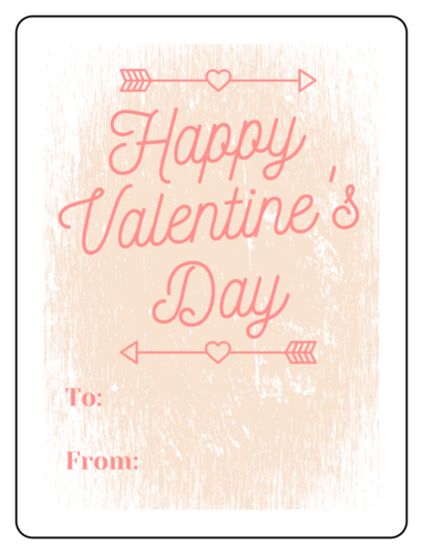 Distressed Valentine's Day Wine Gift Label