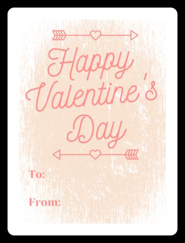 Distressed Valentine's Day Wine Gift Label
