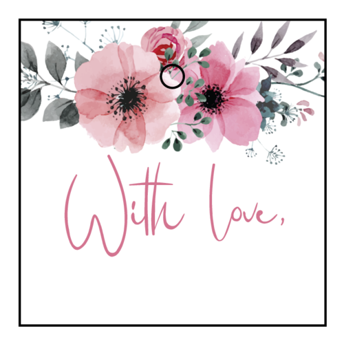 """With Love"" Floral Square Cardstock Gift Tag"